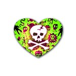 Deathrock Skull & Crossbones Rubber Heart Coaster (4 pack)