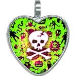 Deathrock Skull & Crossbones Heart Necklace