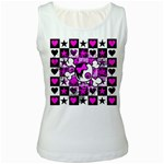 Emo Scene Girl Skull Women s White Tank Top