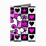Emo Scene Girl Skull Mini Greeting Cards (Pkg of 8)