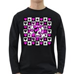 Emo Scene Girl Skull Long Sleeve Dark T-Shirt