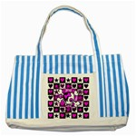Emo Scene Girl Skull Striped Blue Tote Bag