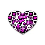 Emo Scene Girl Skull Rubber Heart Coaster (4 pack)