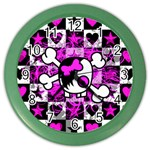 Emo Scene Girl Skull Color Wall Clock