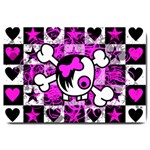 Emo Scene Girl Skull Large Doormat