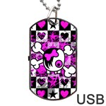 Emo Scene Girl Skull Dog Tag USB Flash (Two Sides)