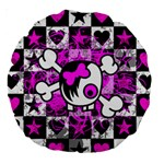 Emo Scene Girl Skull Large 18  Premium Round Cushion