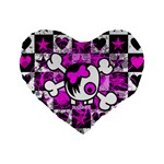 Emo Scene Girl Skull Standard 16  Premium Heart Shape Cushion