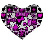 Emo Scene Girl Skull Large 19  Premium Heart Shape Cushion