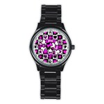 Emo Scene Girl Skull Stainless Steel Round Watch