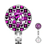 Emo Scene Girl Skull Stainless Steel Nurses Watch