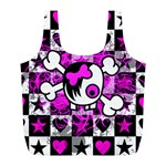 Emo Scene Girl Skull Full Print Recycle Bag (L)