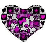 Emo Scene Girl Skull Large 19  Premium Flano Heart Shape Cushion