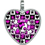 Emo Scene Girl Skull Heart Necklace