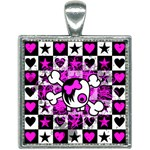 Emo Scene Girl Skull Square Necklace