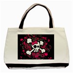 Girly Skull & Crossbones Basic Tote Bag (Two Sides)