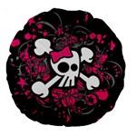 Girly Skull & Crossbones Large 18  Premium Round Cushion