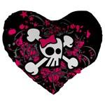 Girly Skull & Crossbones Large 19  Premium Heart Shape Cushion