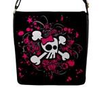 Girly Skull & Crossbones Flap Closure Messenger Bag (L)