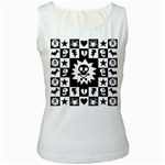 Gothic Punk Skull Women s White Tank Top