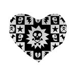 Gothic Punk Skull Standard 16  Premium Heart Shape Cushion