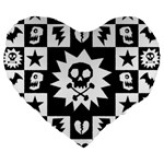 Gothic Punk Skull Large 19  Premium Heart Shape Cushion
