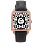 Gothic Punk Skull Rose Gold Leather Watch