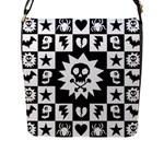 Gothic Punk Skull Flap Closure Messenger Bag (L)