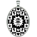 Gothic Punk Skull Oval Necklace