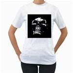 Morbid Skull Women s T-Shirt (White) (Two Sided)
