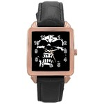 Morbid Skull Rose Gold Leather Watch
