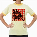 Love Heart Splatter Women s Fitted Ringer T-Shirt