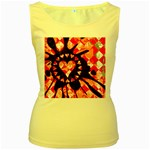 Love Heart Splatter Women s Yellow Tank Top