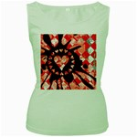 Love Heart Splatter Women s Green Tank Top