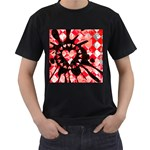 Love Heart Splatter Men s T-Shirt (Black) (Two Sided)