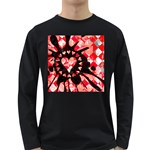 Love Heart Splatter Long Sleeve Dark T-Shirt