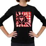 Love Heart Splatter Women s Long Sleeve Dark T-Shirt