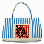 Love Heart Splatter Striped Blue Tote Bag