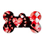 Love Heart Splatter Dog Tag Bone (One Side)