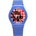 Love Heart Splatter Round Plastic Sport Watch (S)