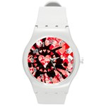 Love Heart Splatter Round Plastic Sport Watch (M)