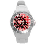 Love Heart Splatter Round Plastic Sport Watch (L)