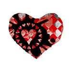 Love Heart Splatter Standard 16  Premium Heart Shape Cushion