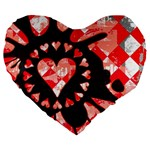 Love Heart Splatter Large 19  Premium Heart Shape Cushion