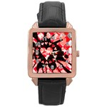 Love Heart Splatter Rose Gold Leather Watch