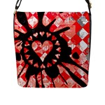 Love Heart Splatter Flap Closure Messenger Bag (L)