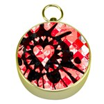Love Heart Splatter Gold Compass