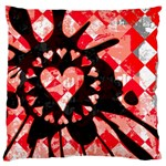 Love Heart Splatter Large Flano Cushion Case (One Side)