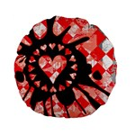 Love Heart Splatter Standard 15  Premium Flano Round Cushion
