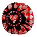 Love Heart Splatter Large 18  Premium Flano Round Cushion